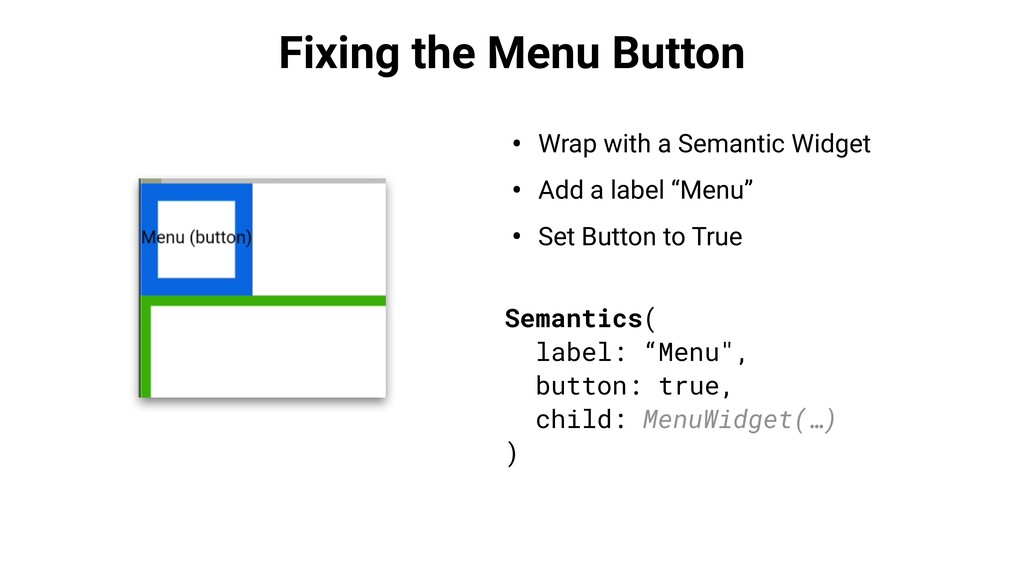 Fixing the Menu Button • Wrap with a Semantic W...