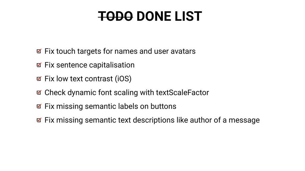 TODO DONE LIST Fix touch targets for names and ...