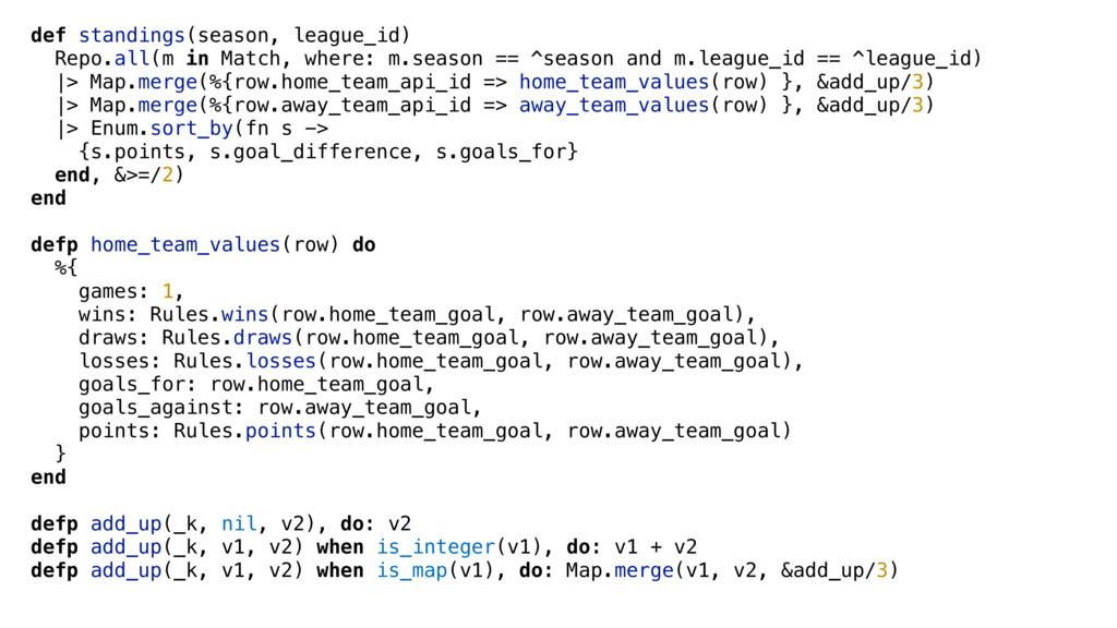 def standings(season, league_id) Repo.all(m in ...