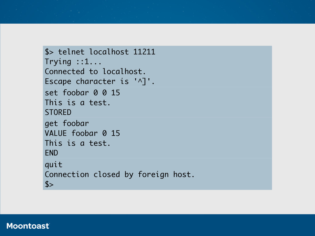 $> telnet localhost 11211 Trying ::1... Connect...