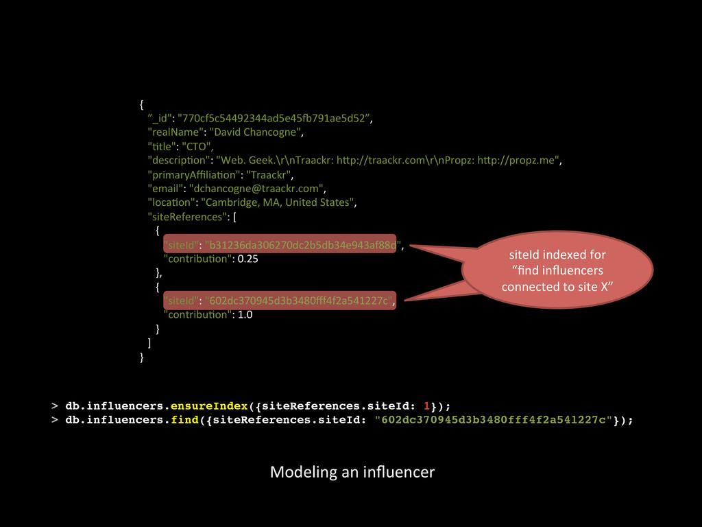 Modeling an influencer  siteId index...