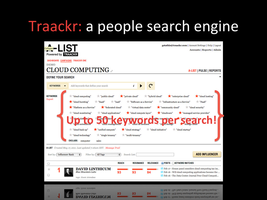 Traackr: a people search engine ...