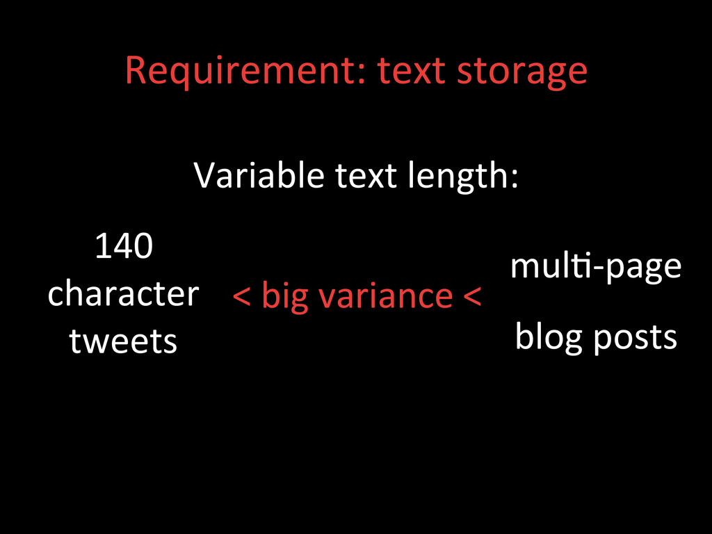 Requirement: text storage  Variable ...