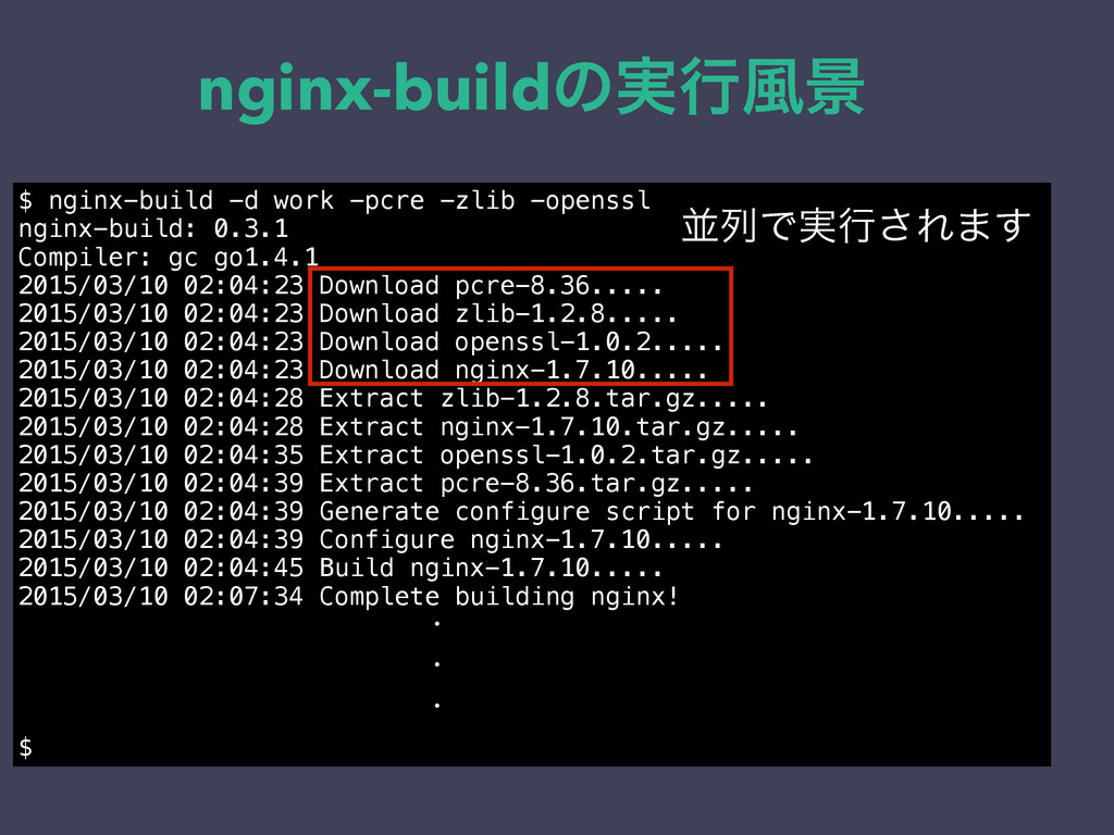 nginx-buildͷ࣮ߦ෩ܠ $ nginx-build -d work -pcre -z...