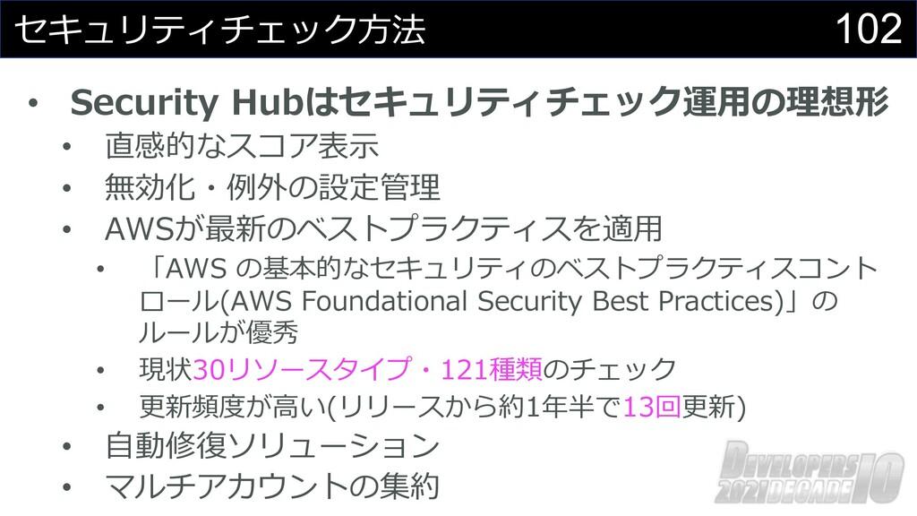 102 セキュリティチェック⽅法 • Security Hubはセキュリティチェック運⽤の理想...