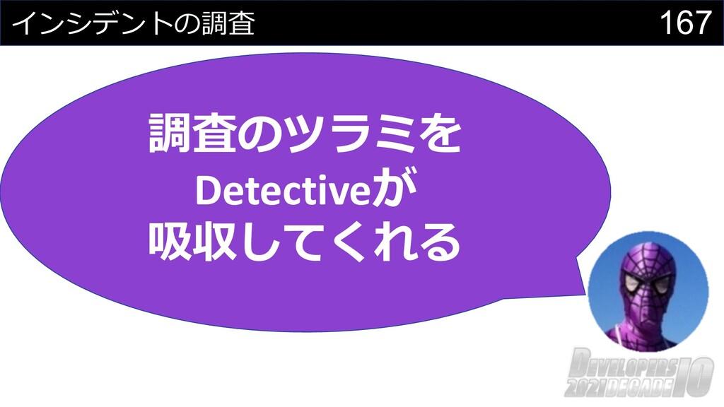 167 インシデントの調査 調査のツラミを Detectiveが 吸収してくれる