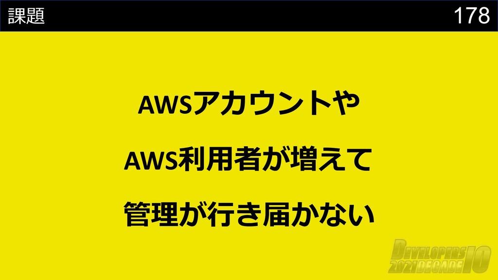 178 課題 AWSアカウントや AWS利⽤者が増えて 管理が⾏き届かない