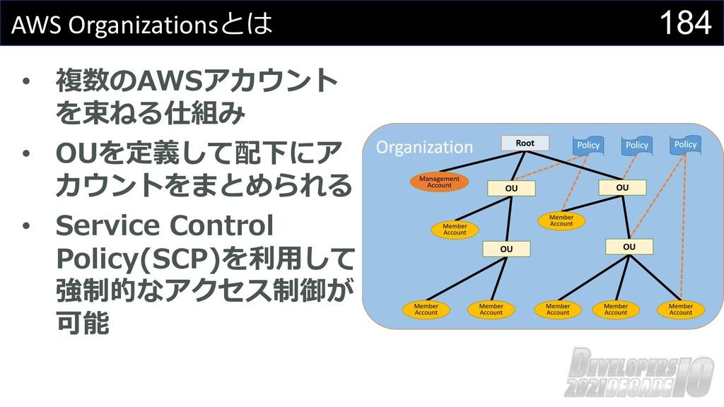 184 AWS Organizationsとは • 複数のAWSアカウント を束ねる仕組み •...