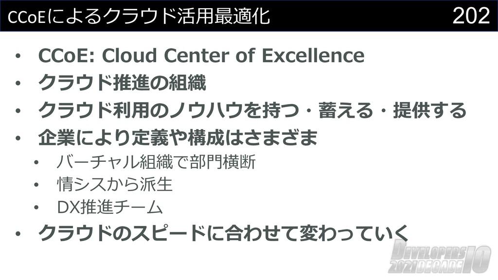 202 CCoEによるクラウド活⽤最適化 • CCoE: Cloud Center of Ex...