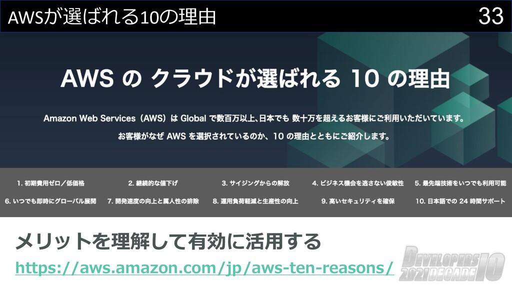 33 AWSが選ばれる10の理由 メリットを理解して有効に活⽤する https://aws.a...