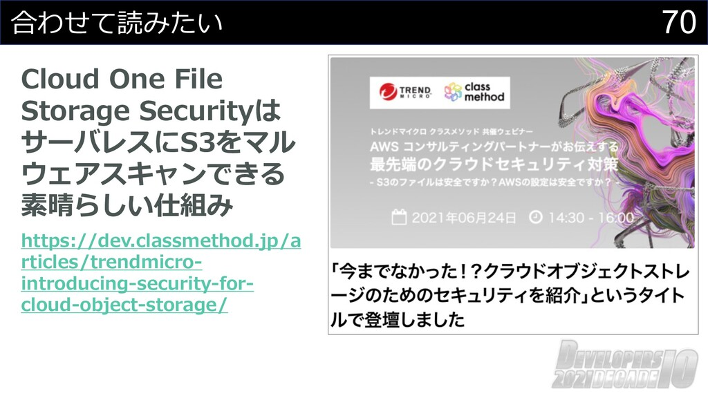 70 合わせて読みたい Cloud One File Storage Securityは サー...
