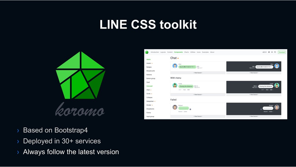 LINE CSS toolkit › Based on Bootstrap4 › Deploy...