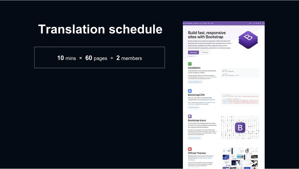 Translation schedule 10 mins × 60 pages ÷ 2 mem...