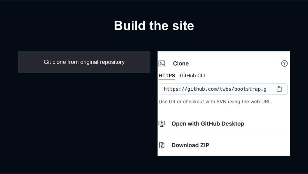 Build the site Git clone from original reposito...