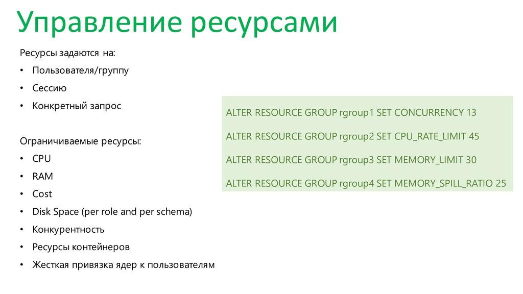 Управление ресурсами Ресурсы задаются на: • Пол...