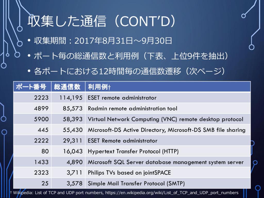 収集した通信(CONT'D) • 収集期間:2017年8月31日~9月30日 • ポート毎の総...