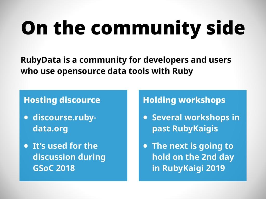 On the community side RubyData is a community f...