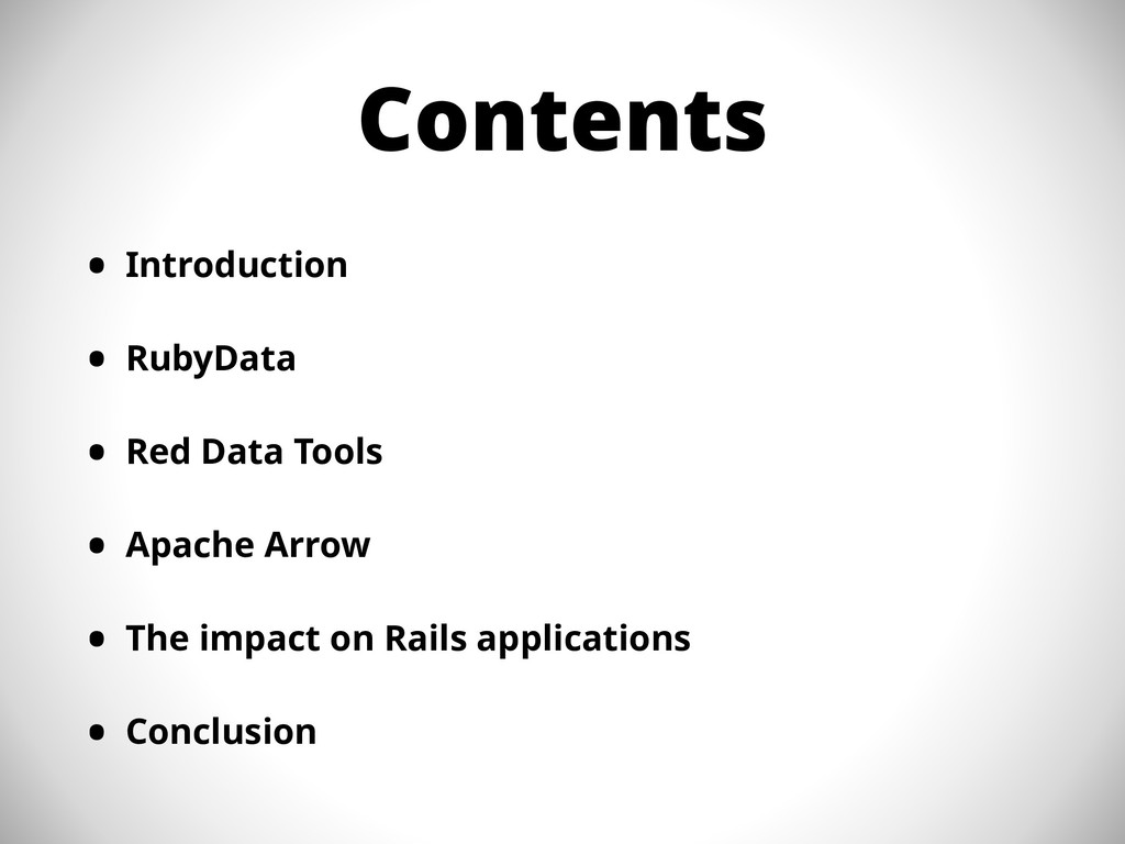 Contents • Introduction • RubyData • Red Data T...