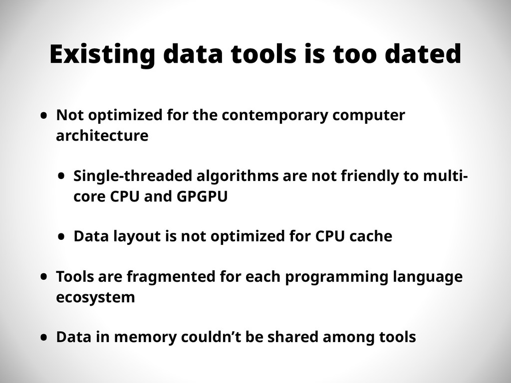 Existing data tools is too dated • Not optimize...