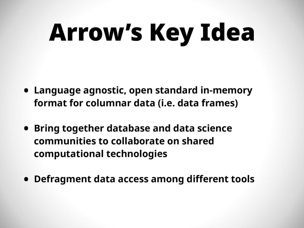 Arrow's Key Idea • Language agnostic, open stan...