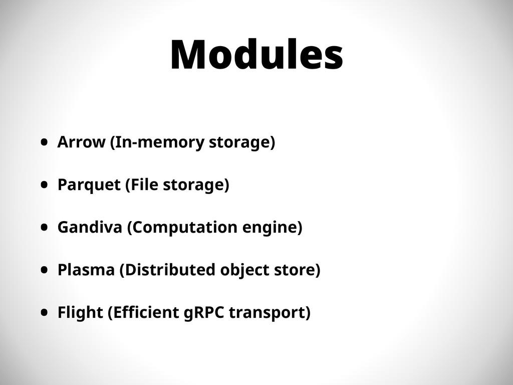 Modules • Arrow (In-memory storage) • Parquet (...