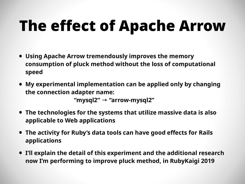 The effect of Apache Arrow • Using Apache Arrow...