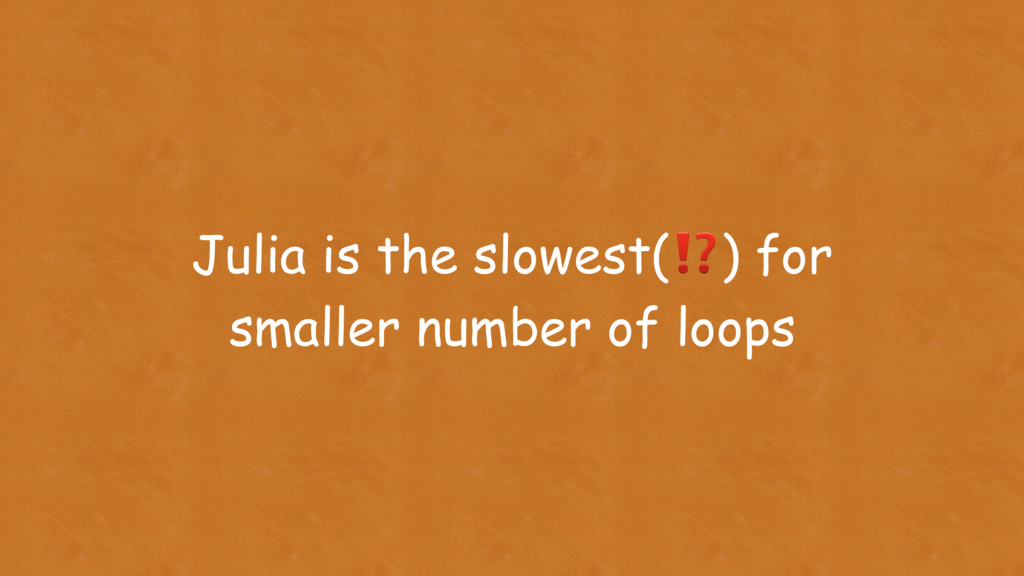 Julia is the slowest(⁉) for smaller number of l...