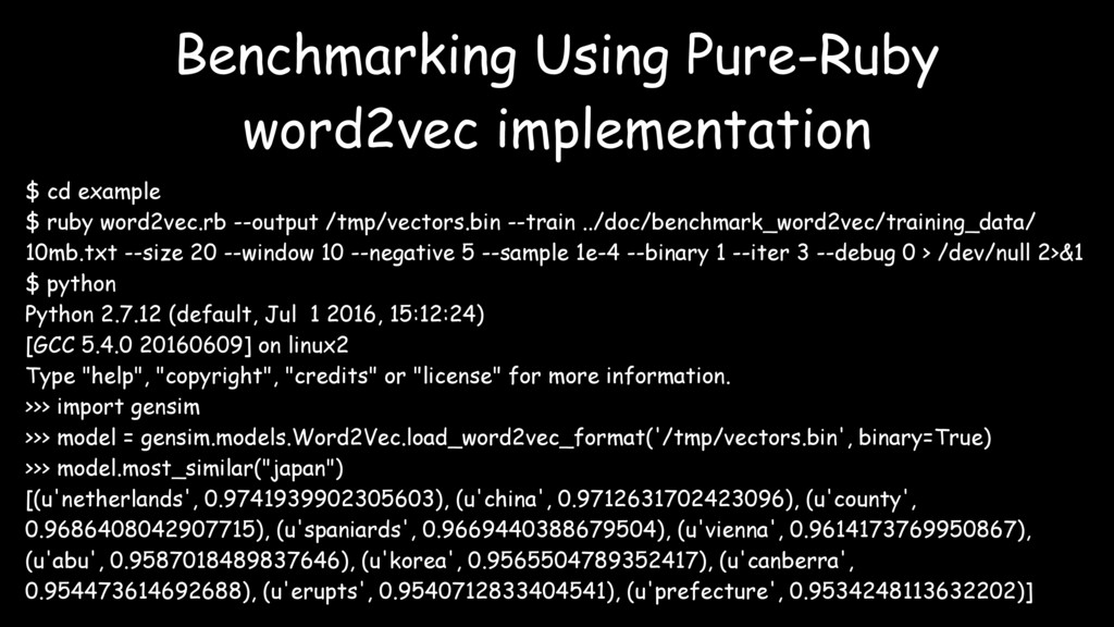 $ cd example $ ruby word2vec.rb --output /tmp/v...