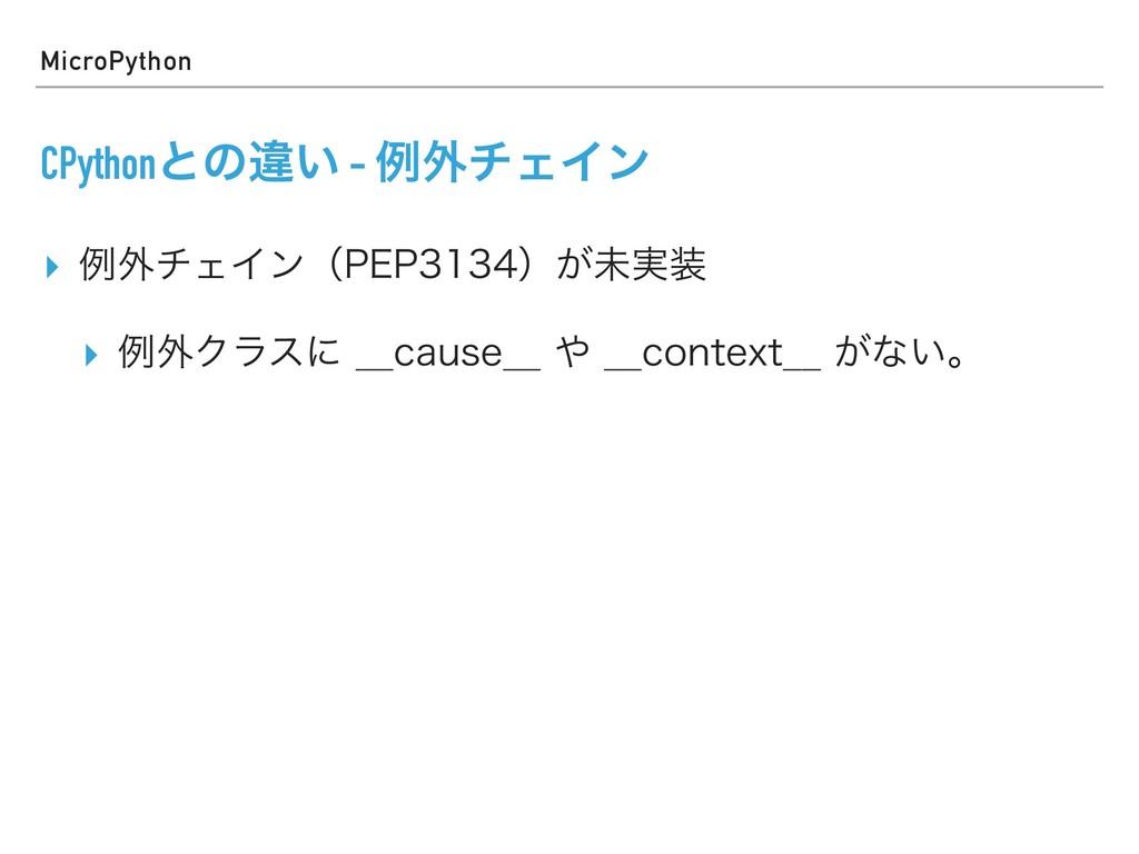 MicroPython CPythonͱͷҧ͍ - ྫ֎νΣΠϯ ▸ ྫ֎νΣΠϯʢ1&1...