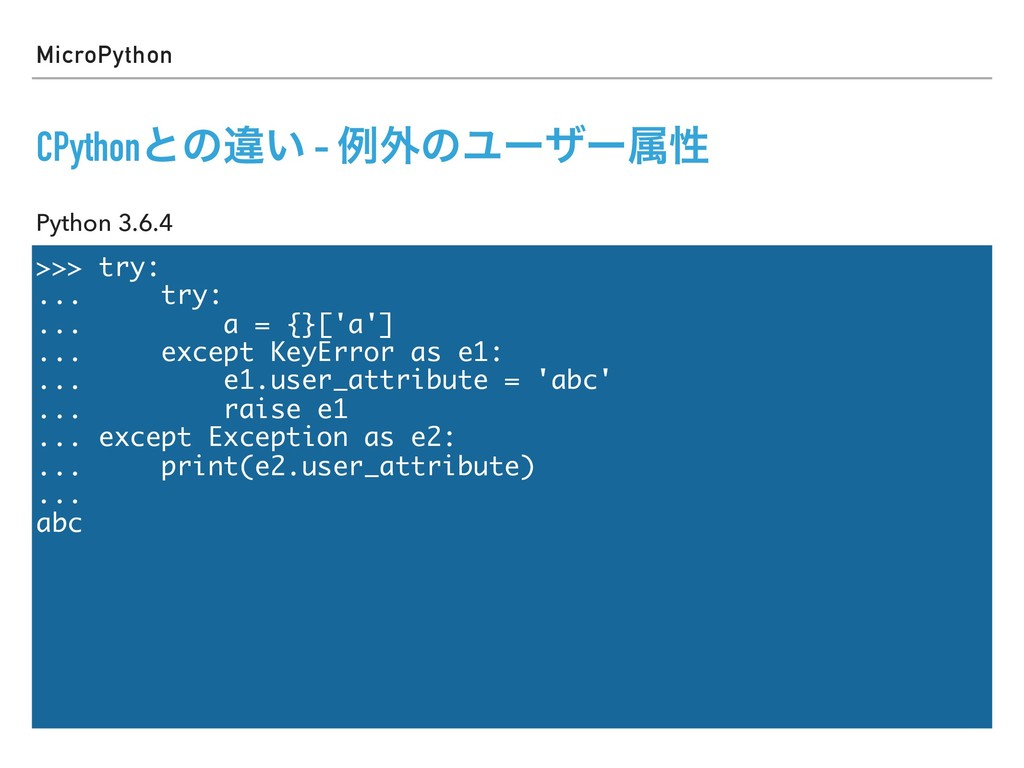 >>> try: ... try: ... a = {}['a'] ... except Ke...