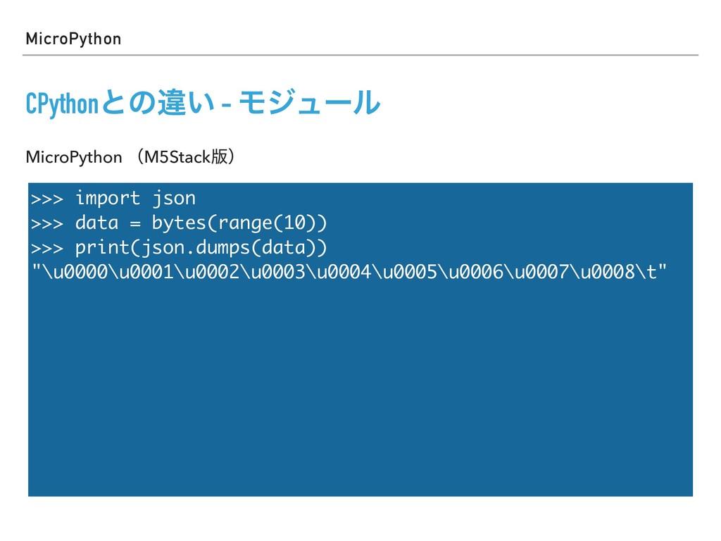MicroPython CPythonͱͷҧ͍ - Ϟδϡʔϧ >>> import json...