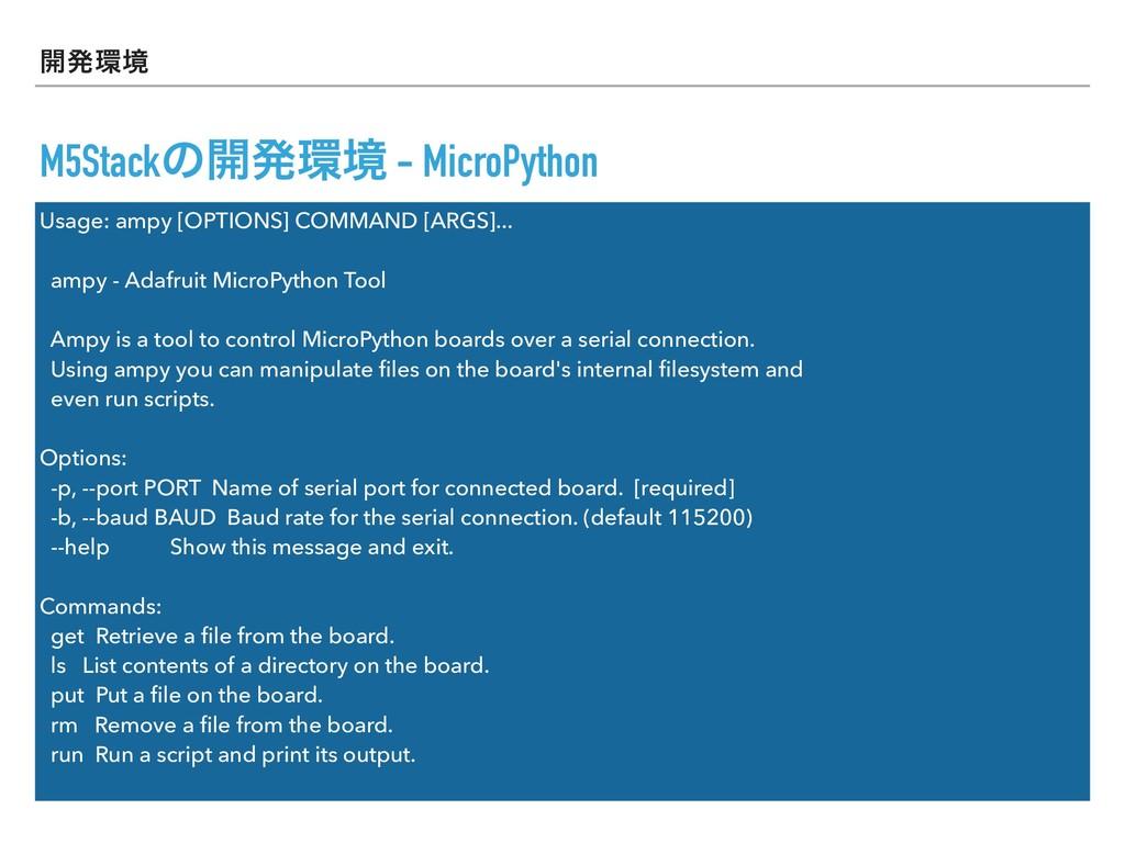 ։ൃڥ M5Stackͷ։ൃڥ - MicroPython Usage: ampy [OP...
