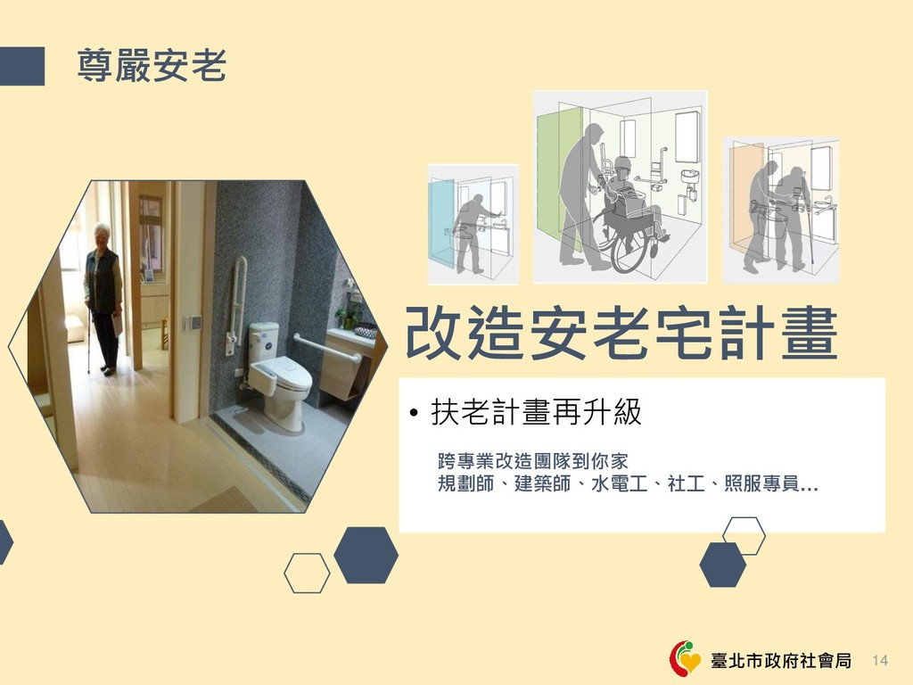 臺北市政府社會局 改造安老宅計畫 • 扶老計畫再升級 跨專業改造團隊到你家 規劃師、建築師、水...