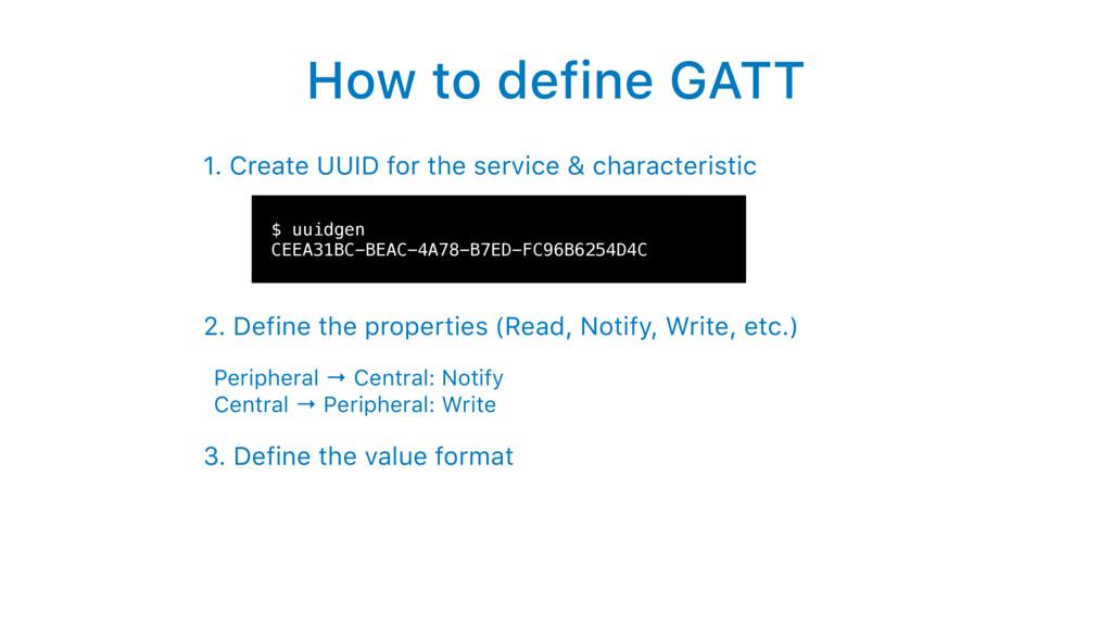 How to define GATT 1. Create UUID for the servi...