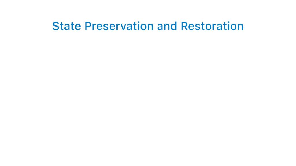 State Preservation and Restoration