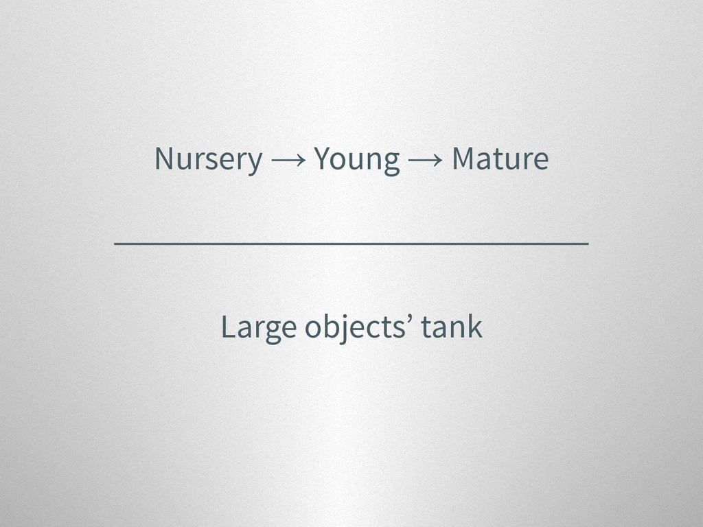 Nursery → Young → Mature Large objects' tank