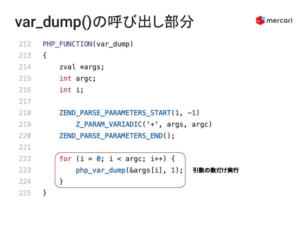 var_dump()の呼び出し部分 引数の数だけ実行