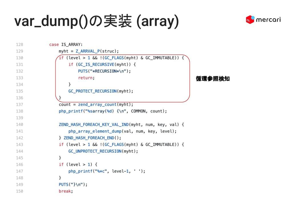 var_dump()の実装 (array) 循環参照検知