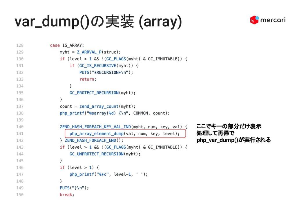 var_dump()の実装 (array) ここでキーの部分だけ表示 処理して再帰でphp_v...