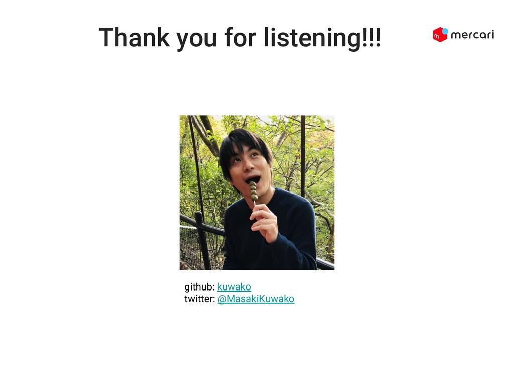 Thank you for listening!!! github: kuwako twitt...