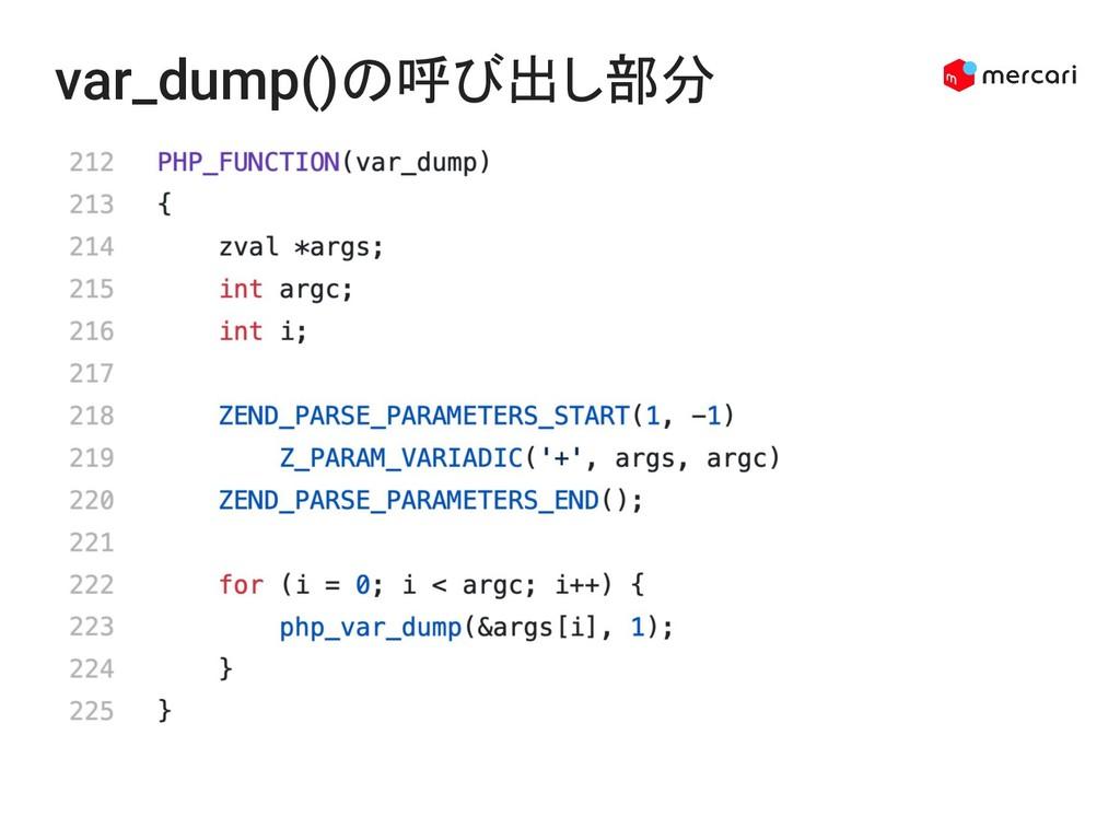 var_dump()の呼び出し部分