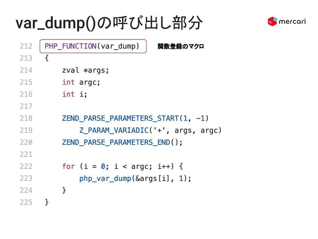 var_dump()の呼び出し部分 関数登録のマクロ