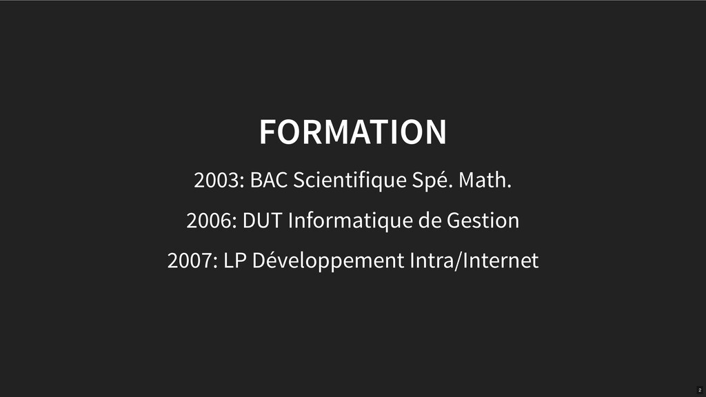 FORMATION 2003: BAC Scientifique Spé. Math. 200...