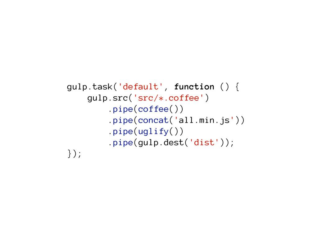 gulp.task('default', function () { gulp.src('sr...