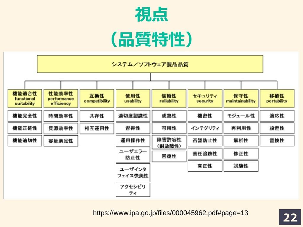 22 視点 (品質特性) https://www.ipa.go.jp/files/000045...