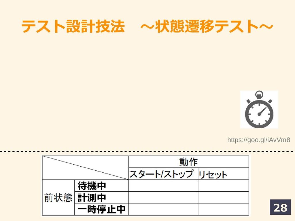 28 テスト設計技法 〜状態遷移テスト~テスト〜 https://goo.gl/iAvVm8 ...