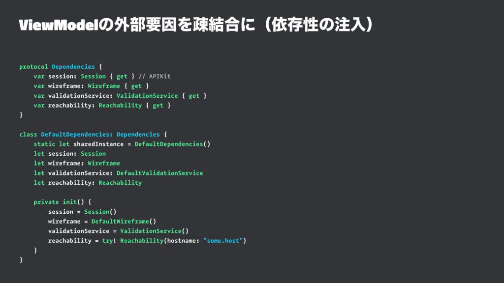 ViewModelͷ֎෦ཁҼΛૄ݁߹ʹʢґଘੑͷೖʣ protocol Dependenci...