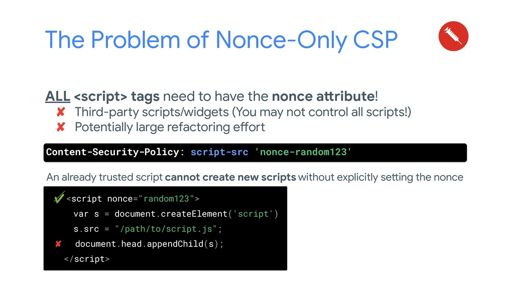 The Problem of Nonce-Only CSP An already truste...