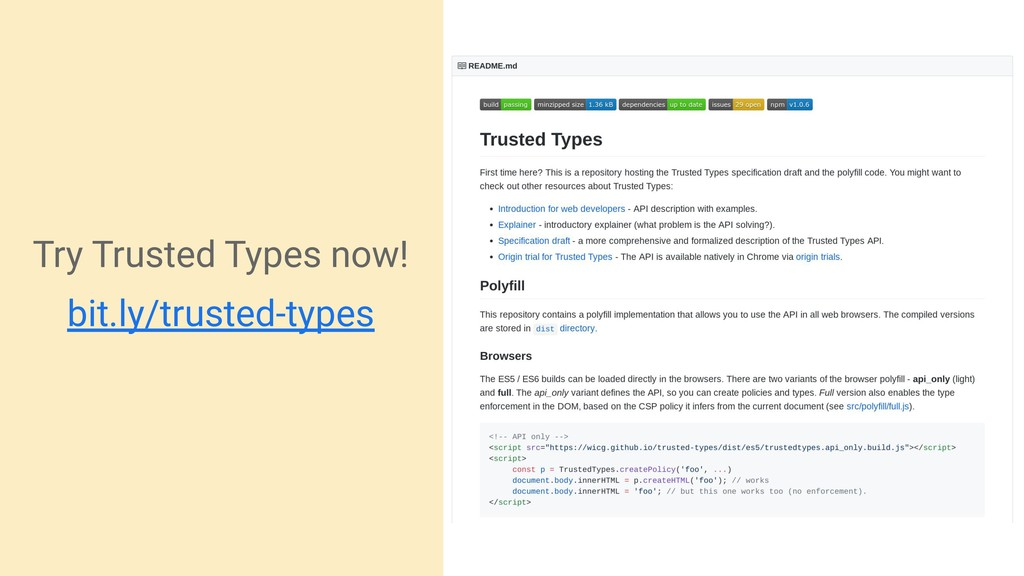 Try Trusted Types now! bit.ly/trusted-types