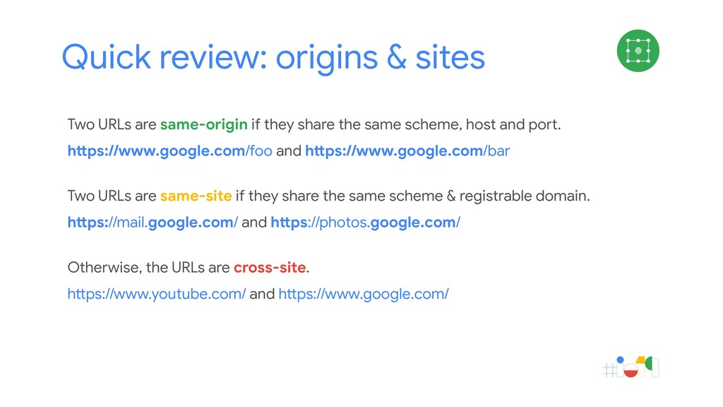 Quick review: origins & sites Cookies Two URLs ...